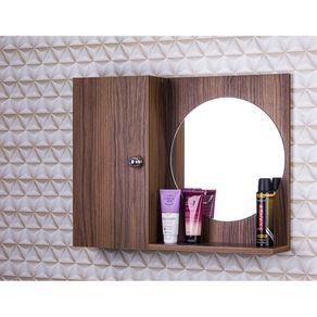 Armario-Para-Banheiro-Com-Espelho-Redondo-Cor-Madeira-Escura