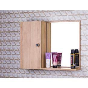 Armario-Com-Espelho-Para-Banheiro-Cor-de-Madeira-Clara-Com-P